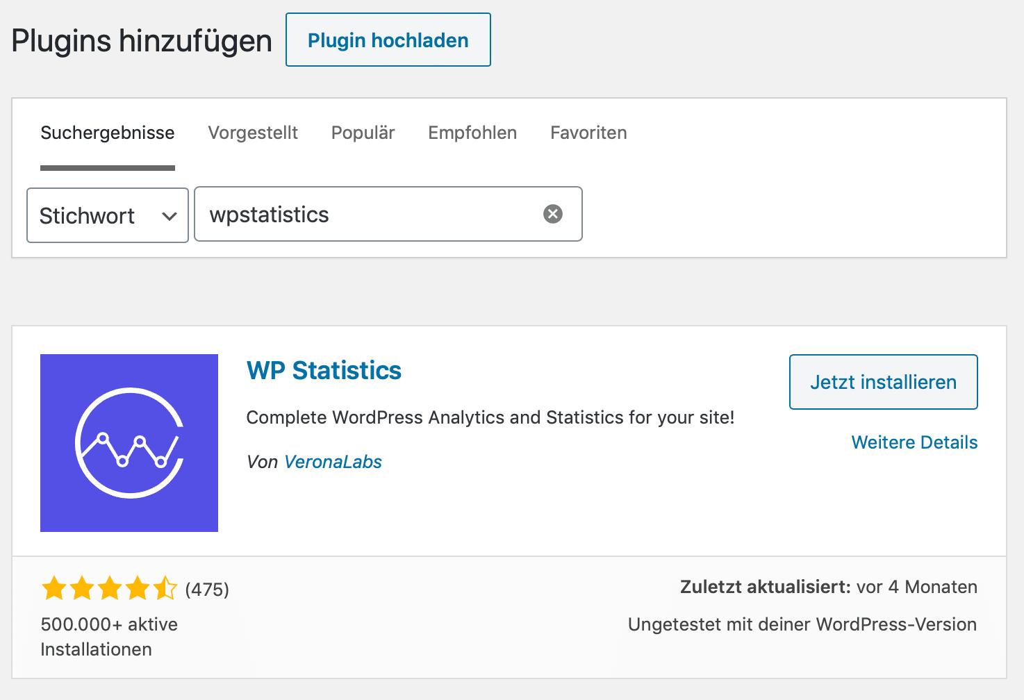 Besucherstatistik für WordPress mit WPStatistics